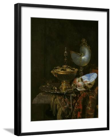 Pronk Still Life with Holbein Bowl, Nautilus Cup, Glass Goblet and Fruit Dish, 1678-Willem Kalf-Framed Art Print