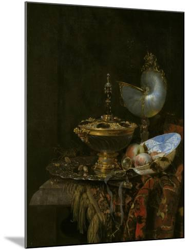 Pronk Still Life with Holbein Bowl, Nautilus Cup, Glass Goblet and Fruit Dish, 1678-Willem Kalf-Mounted Giclee Print