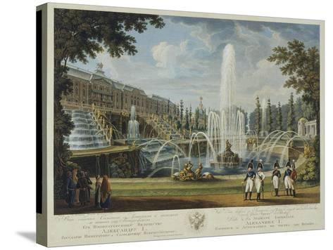 View of the Great Cascade, Samson Fountain and Great Palace at Peterhof, Early 19th C-Ivan Vasilievich Chessky-Stretched Canvas Print
