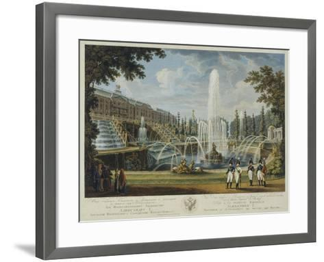 View of the Great Cascade, Samson Fountain and Great Palace at Peterhof, Early 19th C-Ivan Vasilievich Chessky-Framed Art Print