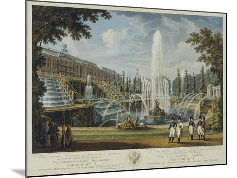 View of the Great Cascade, Samson Fountain and Great Palace at Peterhof, Early 19th C-Ivan Vasilievich Chessky-Mounted Giclee Print