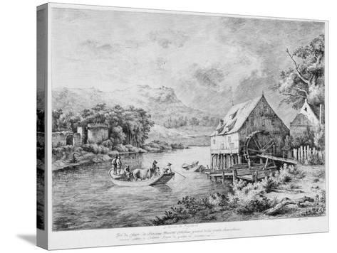 A Mill on the Banks of the River, 1774-Jean-Jacques Boissieu-Stretched Canvas Print
