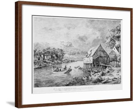 A Mill on the Banks of the River, 1774-Jean-Jacques Boissieu-Framed Art Print