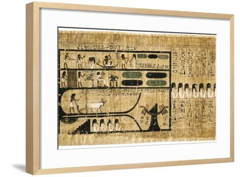 Ancient Egyptian Book of the Dead on Papyrus Showing Written Hieroglyphs--Framed Art Print
