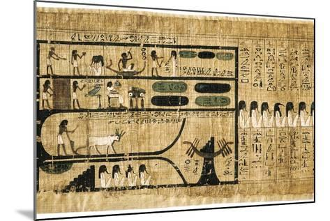 Ancient Egyptian Book of the Dead on Papyrus Showing Written Hieroglyphs--Mounted Giclee Print