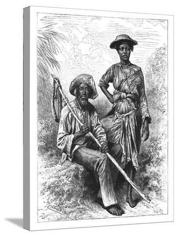 Snake Catcher and Charcoal Girl, Martinique, C1890--Stretched Canvas Print