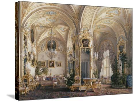 Interiors of the Winter Palace, the Drawing Room in Rococo Style with Cupids, 1860S-Eduard Hau-Stretched Canvas Print