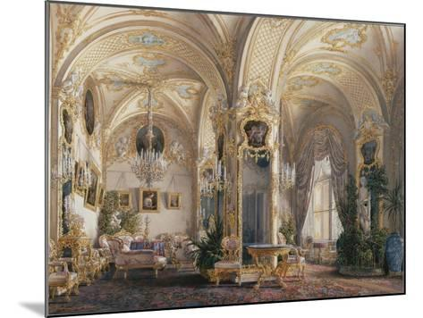 Interiors of the Winter Palace, the Drawing Room in Rococo Style with Cupids, 1860S-Eduard Hau-Mounted Giclee Print