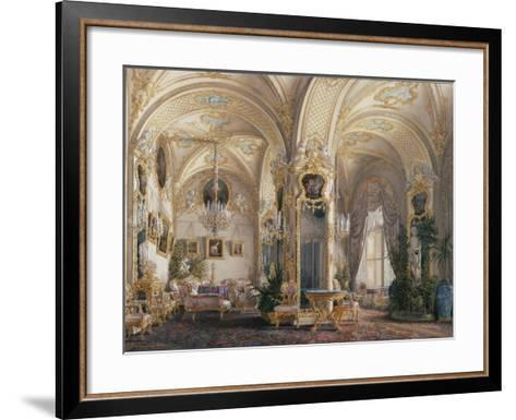 Interiors of the Winter Palace, the Drawing Room in Rococo Style with Cupids, 1860S-Eduard Hau-Framed Art Print
