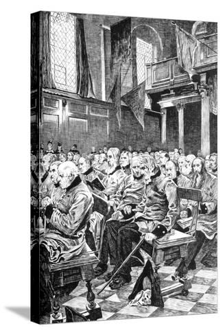 The Last Muster, 1875 (C1880-188)-Hubert von Herkomer-Stretched Canvas Print