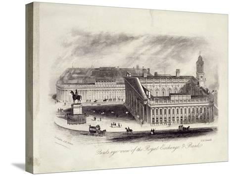Bird's-Eye View of the Royal Exchange, London, C1860--Stretched Canvas Print