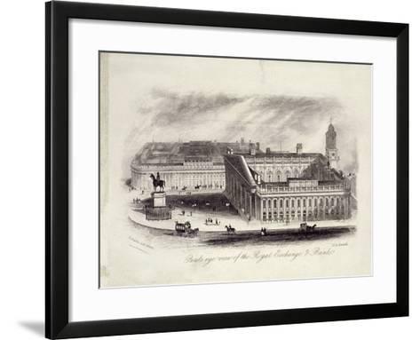 Bird's-Eye View of the Royal Exchange, London, C1860--Framed Art Print
