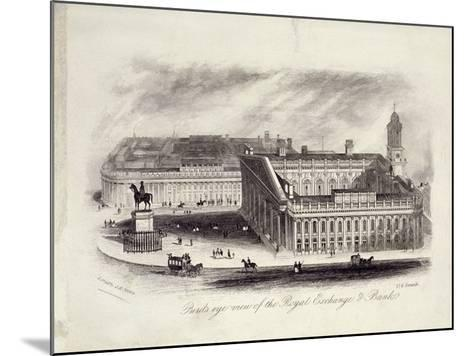 Bird's-Eye View of the Royal Exchange, London, C1860--Mounted Giclee Print