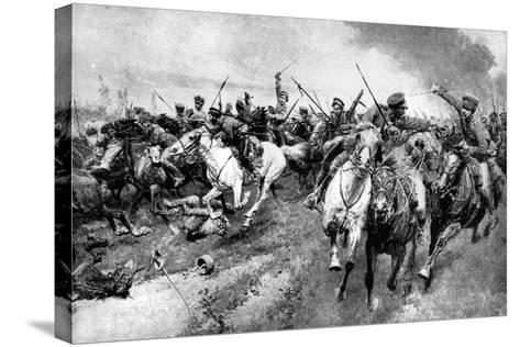 Russian Cossacks Attacking German Army, East Prussia, First World War, 1914--Stretched Canvas Print