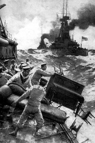 British Sailors Throwing Overboard Luxuries, North Sea, First World War, 1914--Stretched Canvas Print