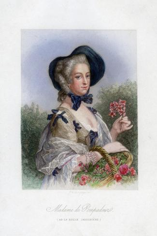 Madame De Pompadour as the Beautiful Gardener--Stretched Canvas Print