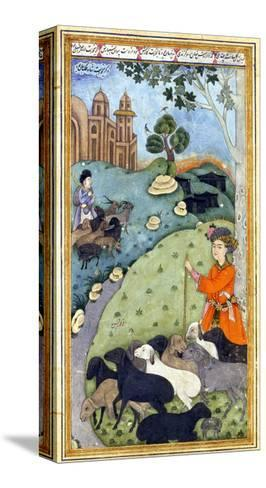 Miniature from Yusuf and Zalikha (Legend of Joseph and Potiphar's Wif) by Jami, Ca 1683-1685--Stretched Canvas Print