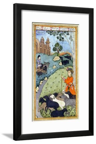 Miniature from Yusuf and Zalikha (Legend of Joseph and Potiphar's Wif) by Jami, Ca 1683-1685--Framed Art Print