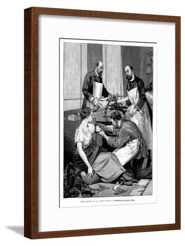A Tuberculosis Patient Being Given a Transfusion of Goat's Blood, 1891--Framed Art Print