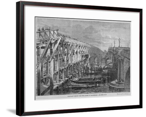 Temporary Wooden Bridge over the River Thames at Blackfriars, London, 1864--Framed Art Print