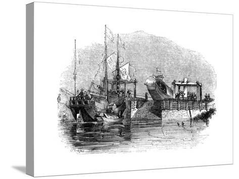 Boat Drawn over a Sluice or Lock on a Canal, 1847-Giles-Stretched Canvas Print