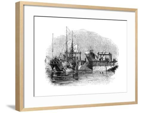 Boat Drawn over a Sluice or Lock on a Canal, 1847-Giles-Framed Art Print