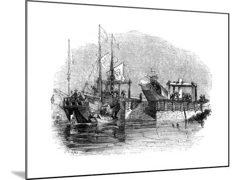 Boat Drawn over a Sluice or Lock on a Canal, 1847-Giles-Mounted Giclee Print