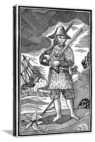 Robinson Crusoe, Chapbook Cut, 18th Century--Stretched Canvas Print