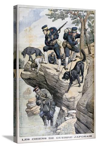 Japanese Soldiers with Dogs Locate a Russian in Hiding, Russo-Japanese War, 1904--Stretched Canvas Print