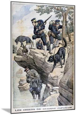 Japanese Soldiers with Dogs Locate a Russian in Hiding, Russo-Japanese War, 1904--Mounted Giclee Print