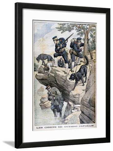 Japanese Soldiers with Dogs Locate a Russian in Hiding, Russo-Japanese War, 1904--Framed Art Print