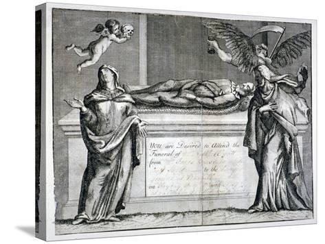 Invitation Card to a Funeral at Bunhill Fields in 1737--Stretched Canvas Print