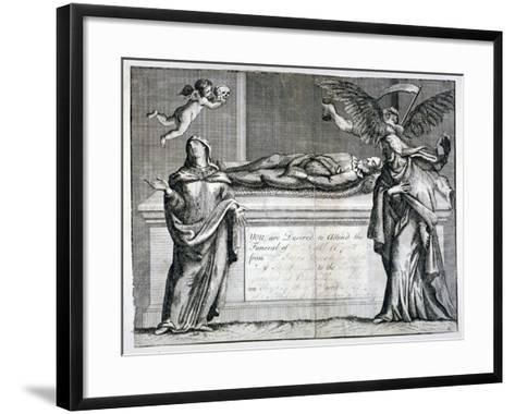 Invitation Card to a Funeral at Bunhill Fields in 1737--Framed Art Print