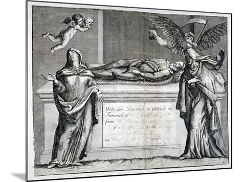 Invitation Card to a Funeral at Bunhill Fields in 1737--Mounted Giclee Print