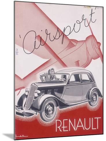Poster Advertising Renault Cars, 1934--Mounted Giclee Print