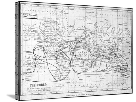 Map of the World Showing Sailing Routes and Telegraph Cables, C1893-George Philip & Son-Stretched Canvas Print