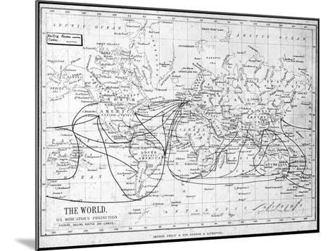 Map of the World Showing Sailing Routes and Telegraph Cables, C1893-George Philip & Son-Mounted Giclee Print