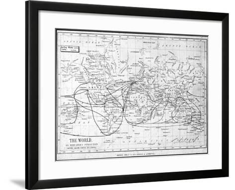 Map of the World Showing Sailing Routes and Telegraph Cables, C1893-George Philip & Son-Framed Art Print