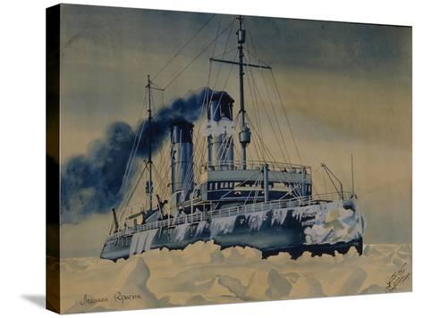 Icebreaker Krasin Among Ice Floes in the Barents Sea, 1932--Stretched Canvas Print
