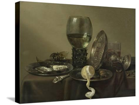 Still Life with Oysters, a Rummer, a Lemon and a Silver Bowl, 1634-Willem Claesz Heda-Stretched Canvas Print