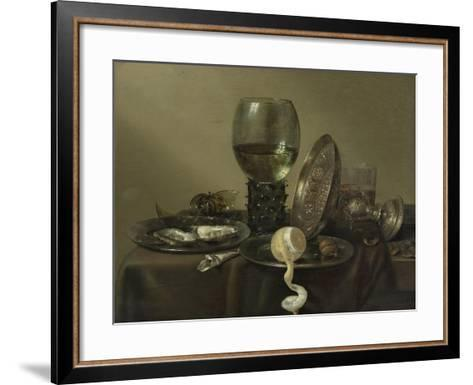 Still Life with Oysters, a Rummer, a Lemon and a Silver Bowl, 1634-Willem Claesz Heda-Framed Art Print