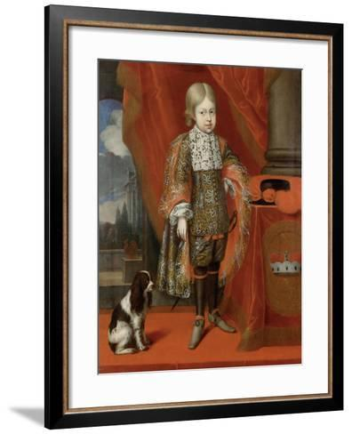 The Future Emperor Joseph I (1678-171) at the Age of Six with a Dog, 1684, 1684-Benjamin von Block-Framed Art Print
