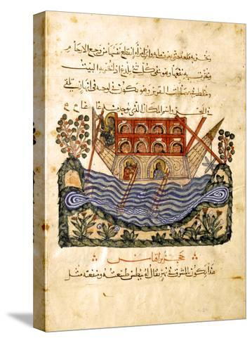 A Ferry (Folio from an Arabic Translation of the Materia Medica by Dioscoride), 1224- Abd as-Samad-Stretched Canvas Print