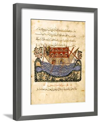 A Ferry (Folio from an Arabic Translation of the Materia Medica by Dioscoride), 1224- Abd as-Samad-Framed Art Print