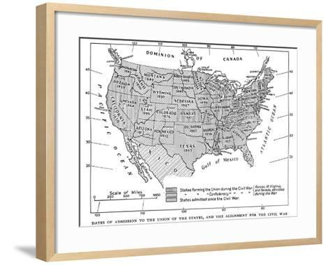 Dates of Admission to the Union of the States, and the Alignment for the Civil War, 1933--Framed Art Print