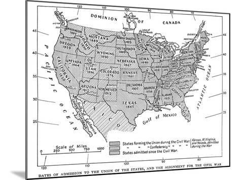 Dates of Admission to the Union of the States, and the Alignment for the Civil War, 1933--Mounted Giclee Print