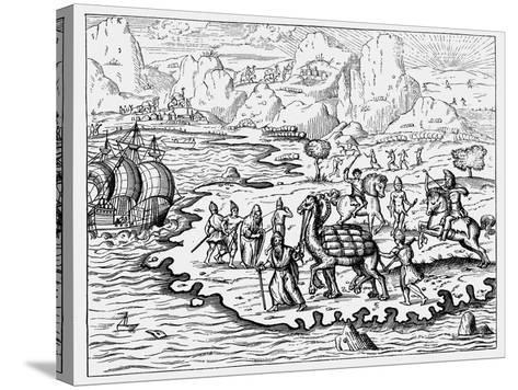 Merchants Transporting Goods to the Coast and a Waiting Vessel by Camel, 1575--Stretched Canvas Print