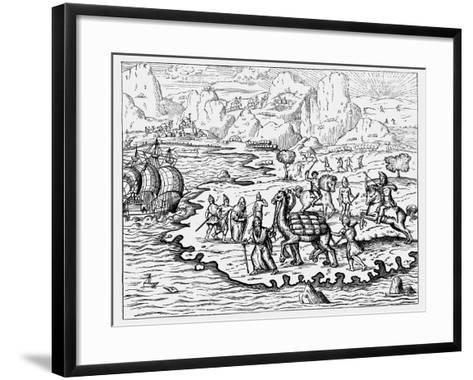 Merchants Transporting Goods to the Coast and a Waiting Vessel by Camel, 1575--Framed Art Print