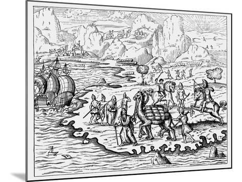 Merchants Transporting Goods to the Coast and a Waiting Vessel by Camel, 1575--Mounted Giclee Print