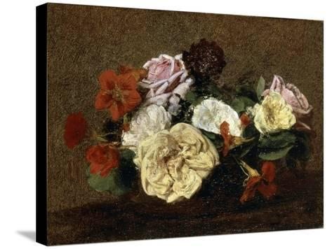 Roses and Nasturtiums in a Vase, 1883-Henri Fantin-Latour-Stretched Canvas Print